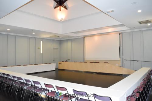 Salle de séminaire ou de conférence avec estrade et écran de projection